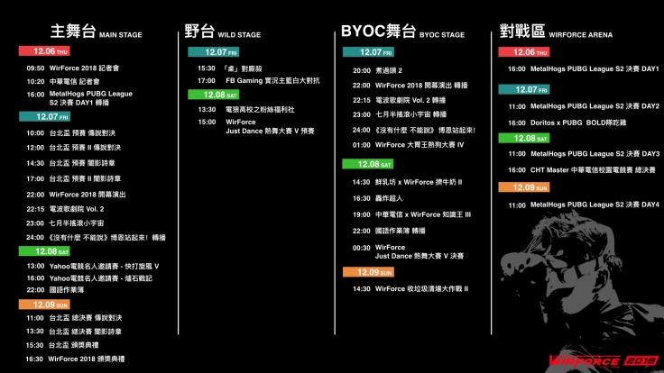【新聞用圖02】WirForce 2018 舞台節目表