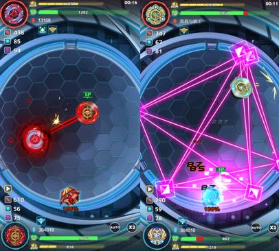 雖然陀螺間對抗是自動戰鬥,但玩家還是可以使用奧義和事前組裝。